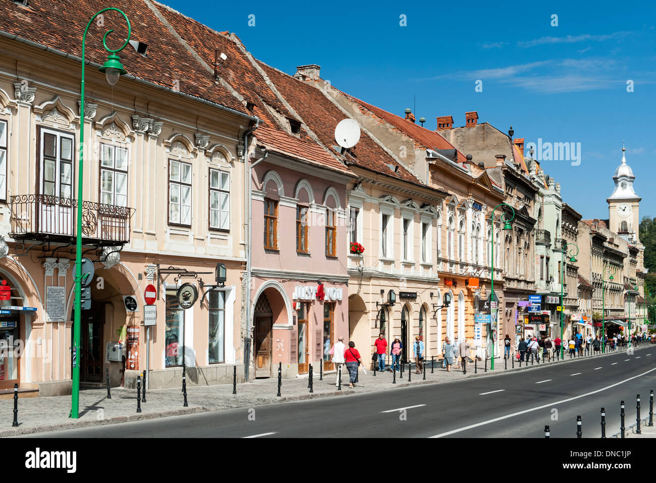Buildings on George Baritiu street in the old town in Brasov, a city in the central Transylvania region of Romania. - Stock Image