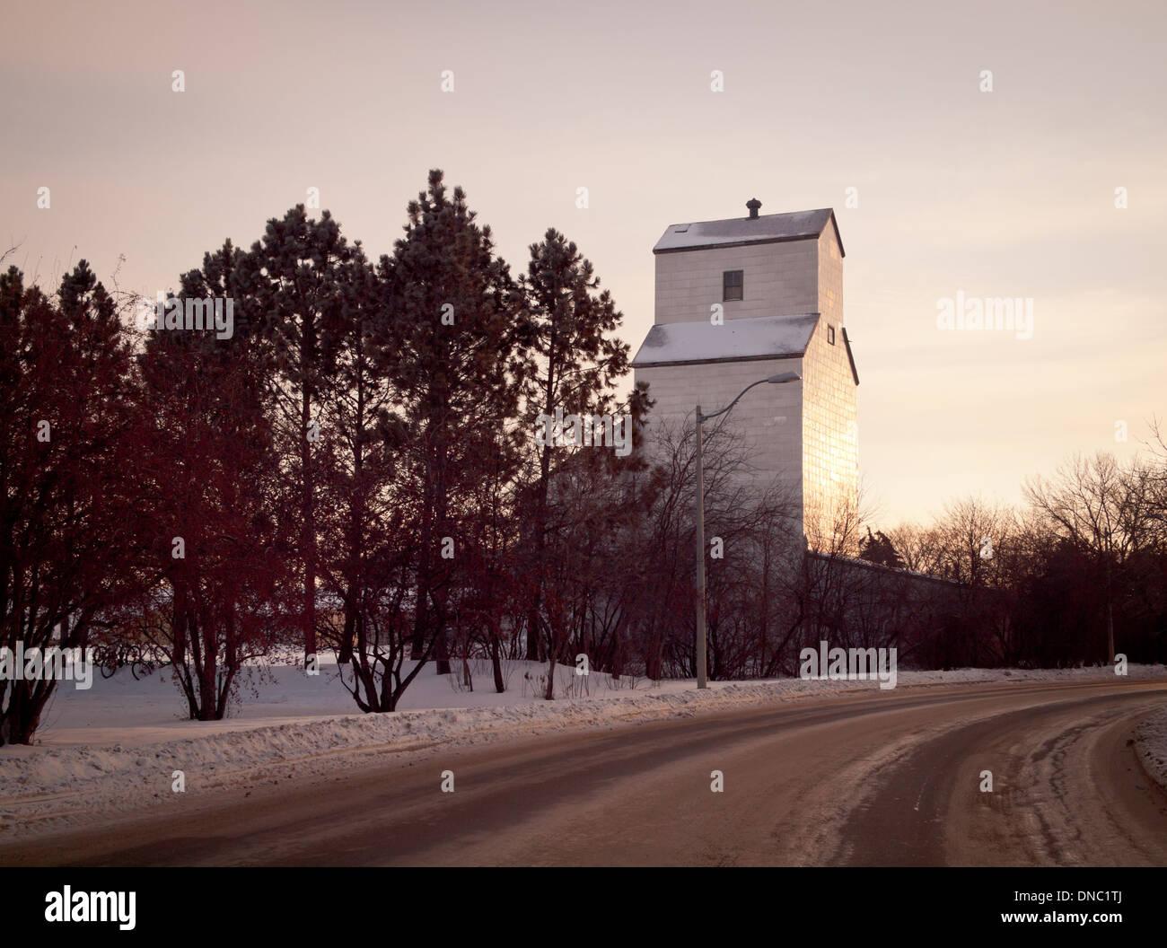 A grain elevator at the University of Saskatchewan in Saskatoon, Saskatchewan, Canada. - Stock Image