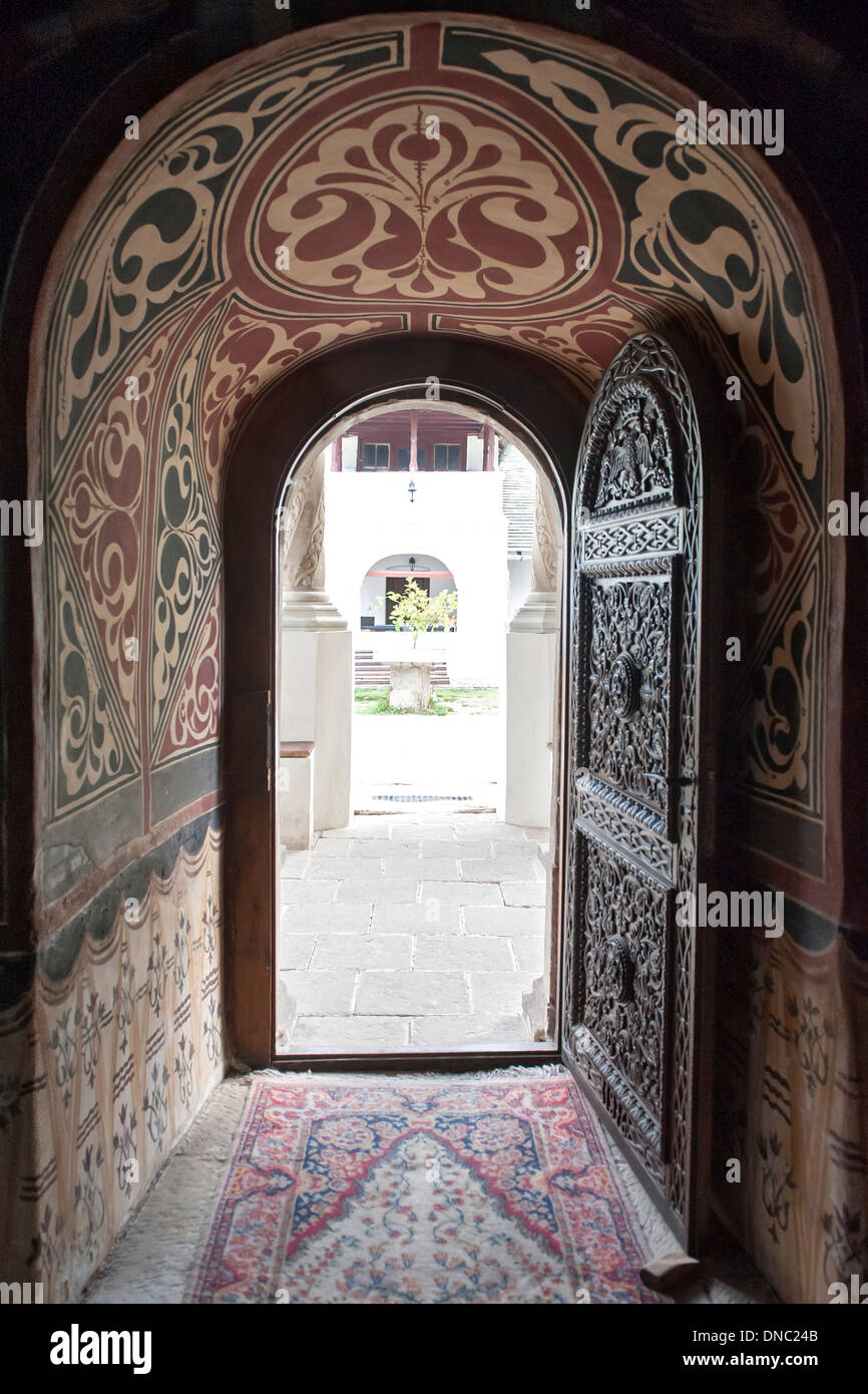 Doorway of the Old Church (Biserica Veche) at the Sinaia Monastery in Prahova county, Romania. - Stock Image
