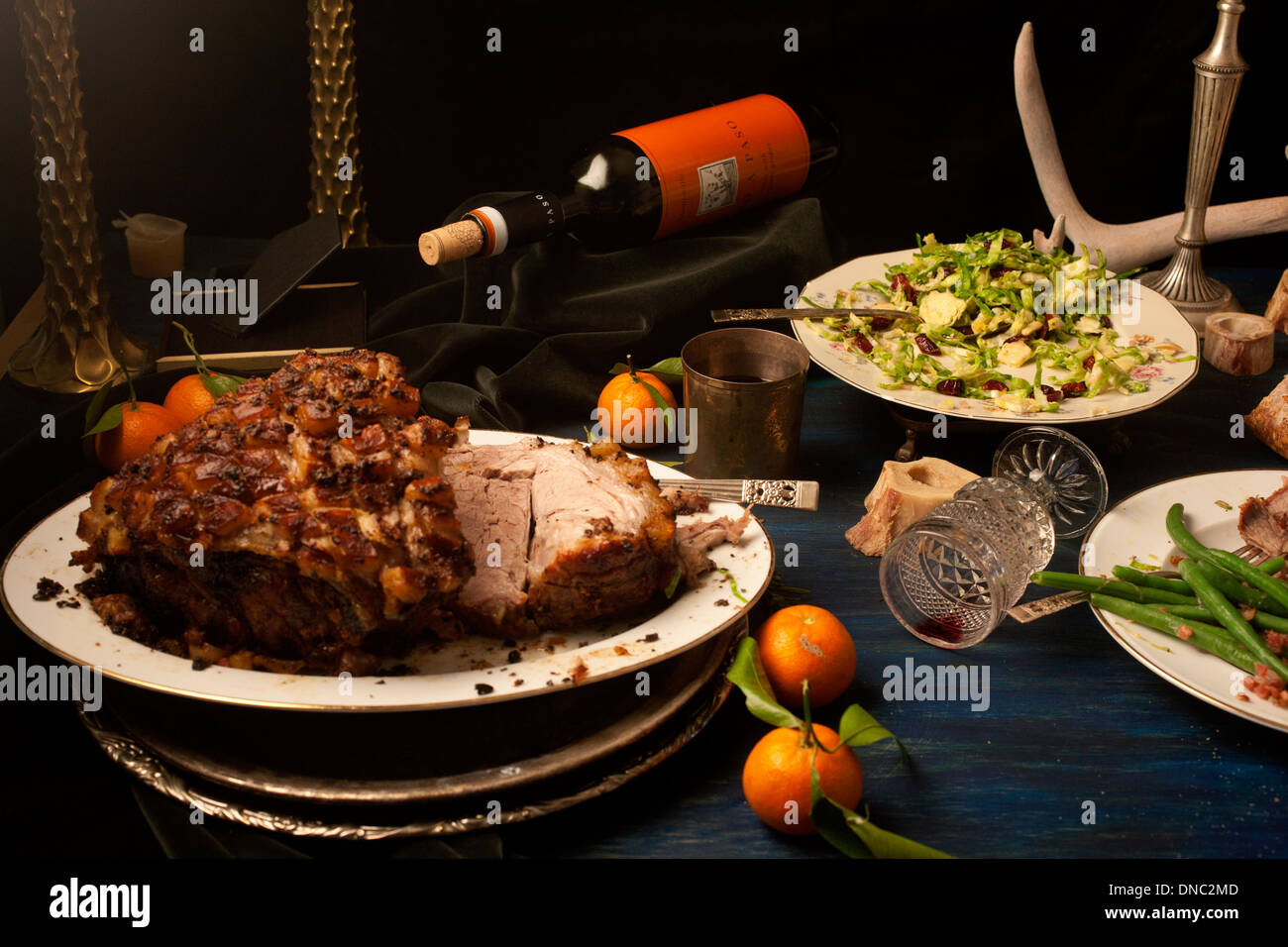 Pork roast after math dinner still life - Stock Image