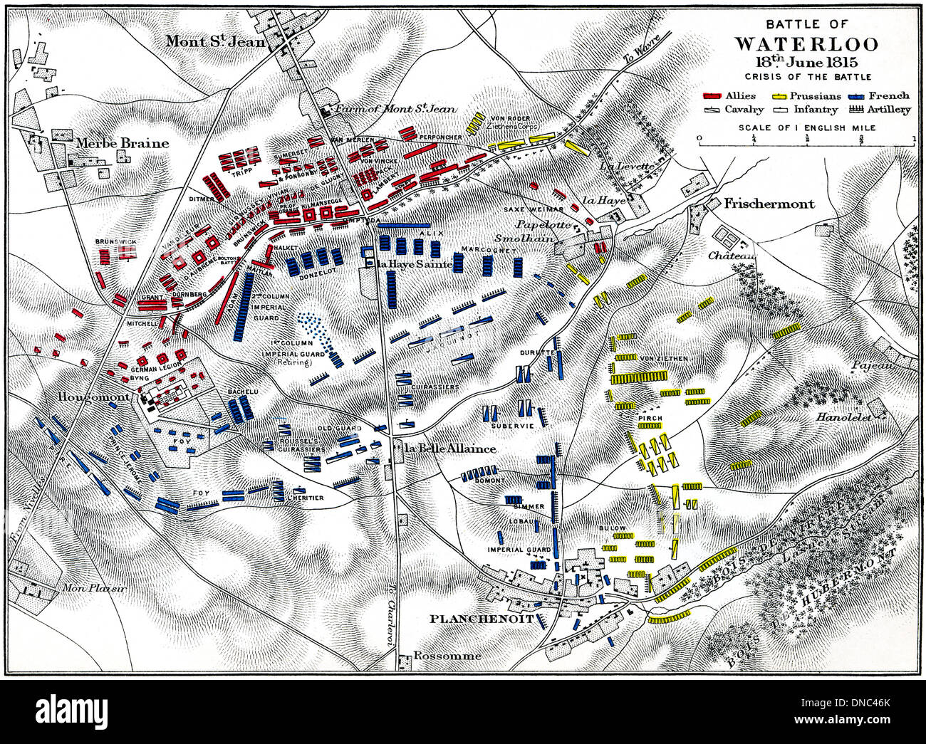 Battle of Waterloo, 18th June 1815. Crisis of the Battle. Troop plan. Published 1899. - Stock Image