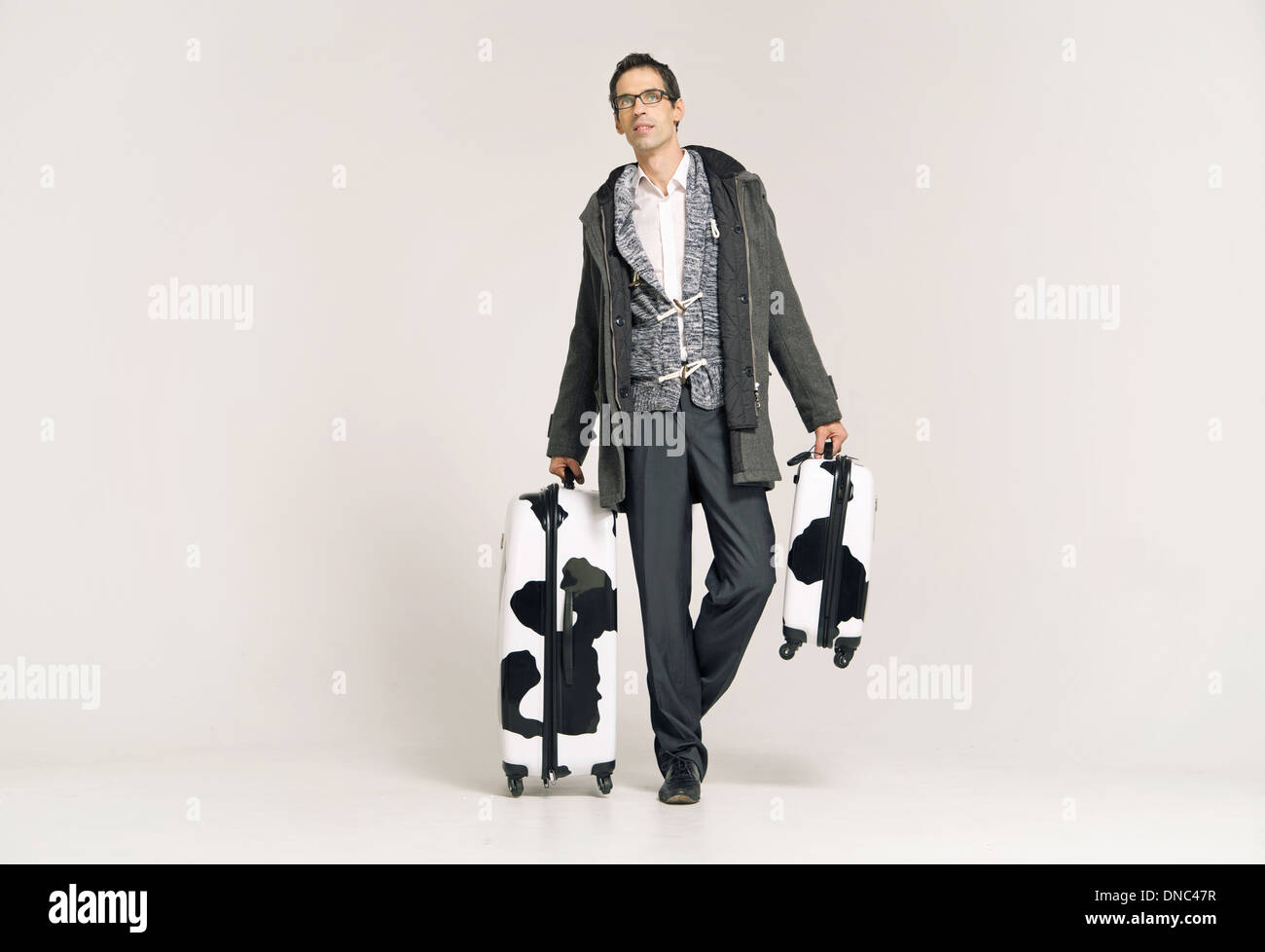 Businessman with two fancy suitcases - Stock Image