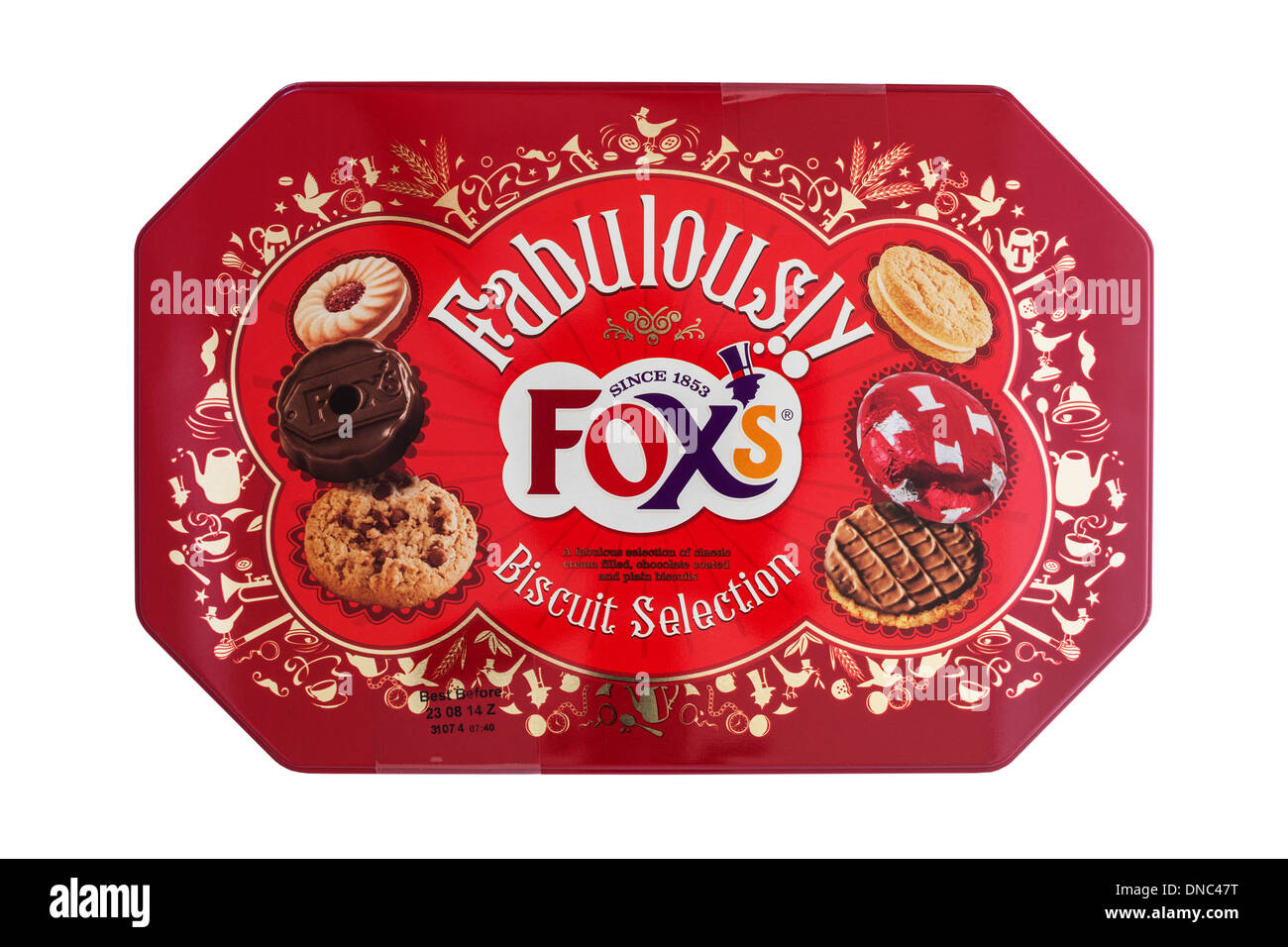 A tin of Fox's biscuit selection biscuits on a white background - Stock Image