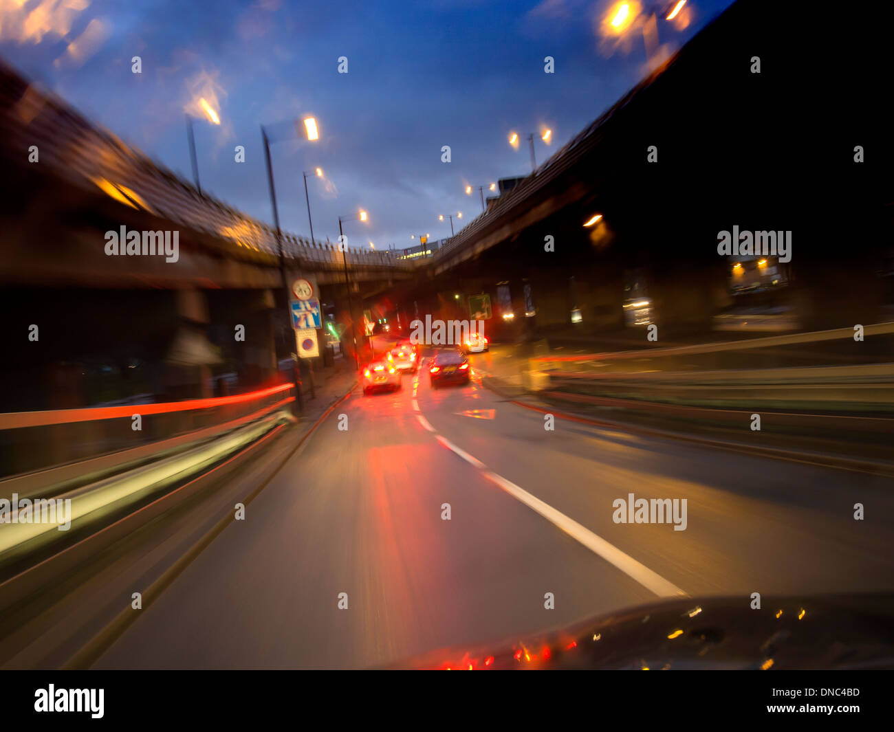 A4 road in to London UK at dusk - Stock Image