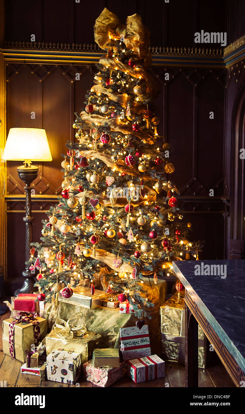Christmas Tree in an English country house - Stock Image