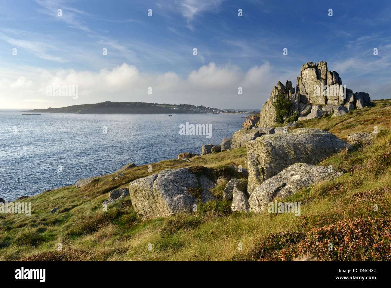 Looking toward Hugh Town, Porthcressa Beach and The Garrison from the coastal path near Peninnis, St Mary's, Isles of Scilly - Stock Image