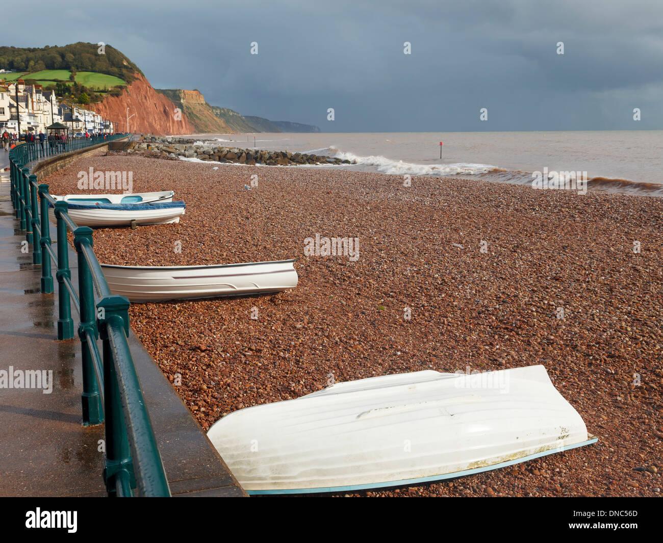 Boats on Sidmouth Beach Devon England UK Europe - Stock Image