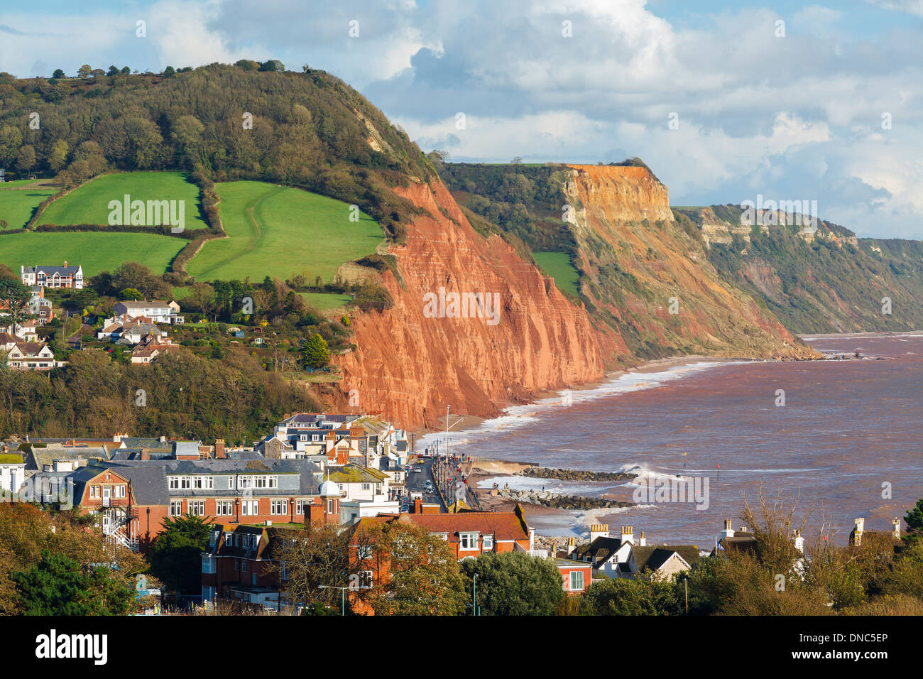 View down on to Sidmouth Devon England UK Europe - Stock Image