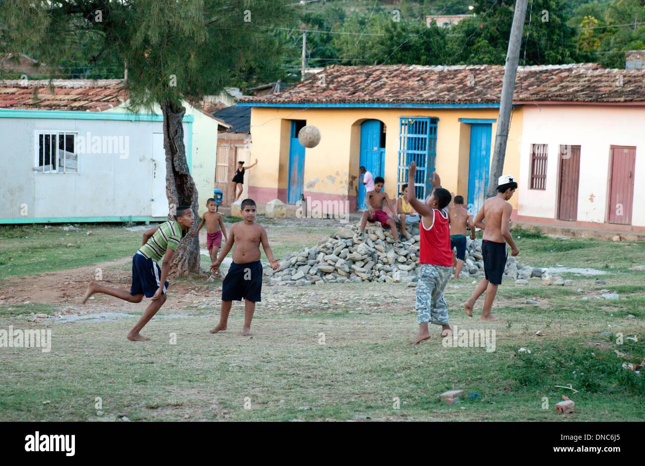 Children Playing Football Soccer Trinidad Cuba Caribbean Latin America