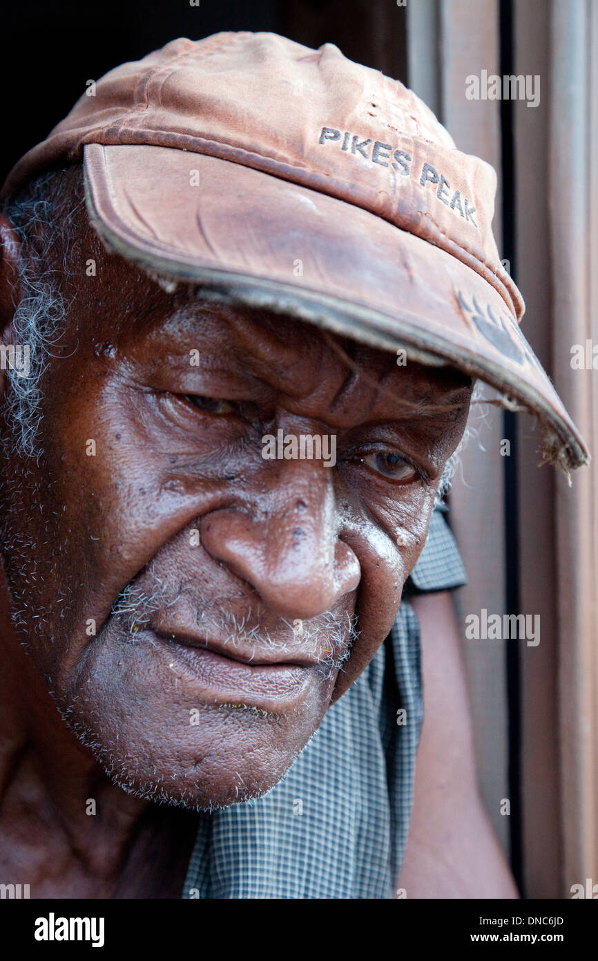 Close up portrait of cuban man age aged 60 years, Trinidad, Cuba Caribbean Stock Photo