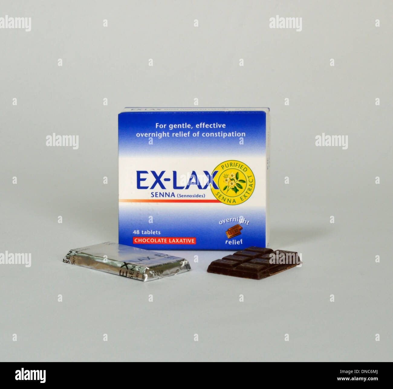 EX-LAX Senna (Sennosides) Purified senna extract. For gentle, effective relief of constipation. 48 tablets. Chocolate laxative. - Stock Image