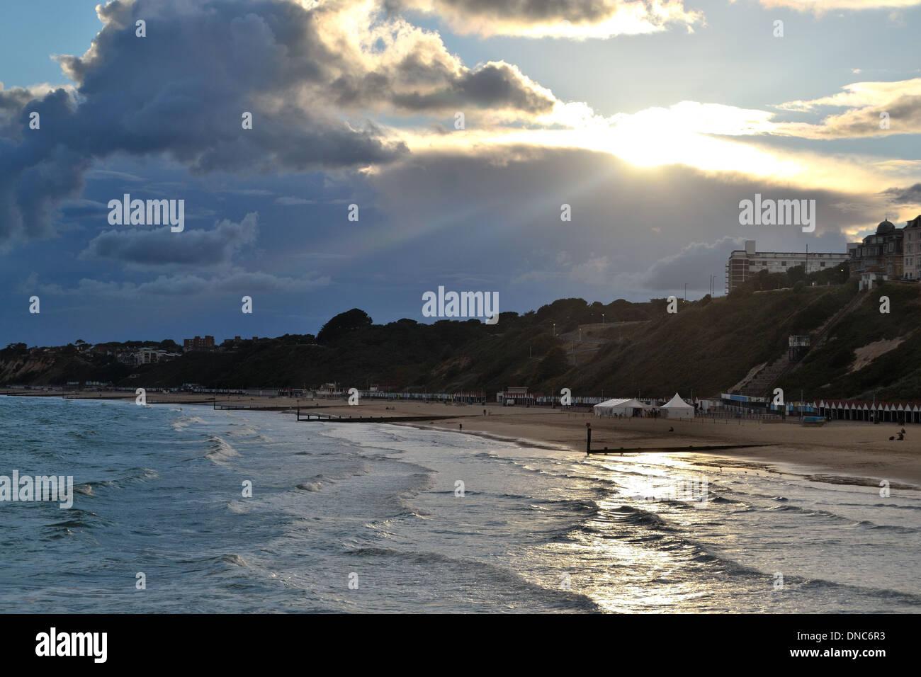Sunset at Bournemouth beach Stock Photo