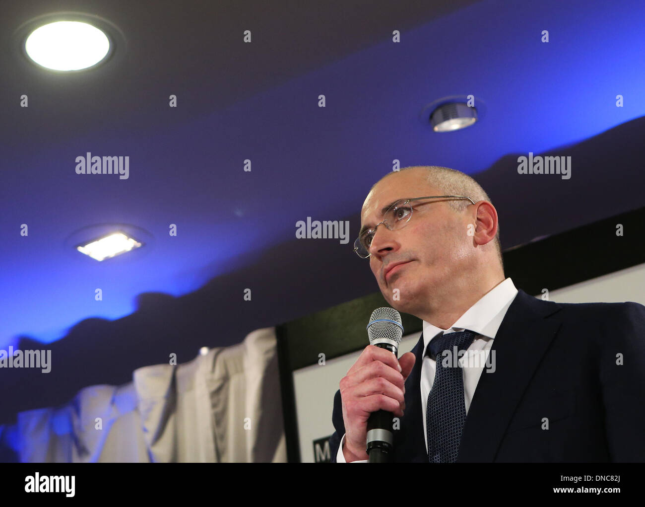Berlin, Germany. 22nd Dec, 2013. Mikhail Khodorkovsky speaks during a press conference in Berlin, Germany, on Dec. 22, 2013. Mikhail Khodorkovsky, a former oil tycoon and one of Russia's most famous prisoners, said here on Sunday that he will not engage in Russian politics or fund the country's political opposition. Credit:  Zhang Fan/Xinhua/Alamy Live News - Stock Image