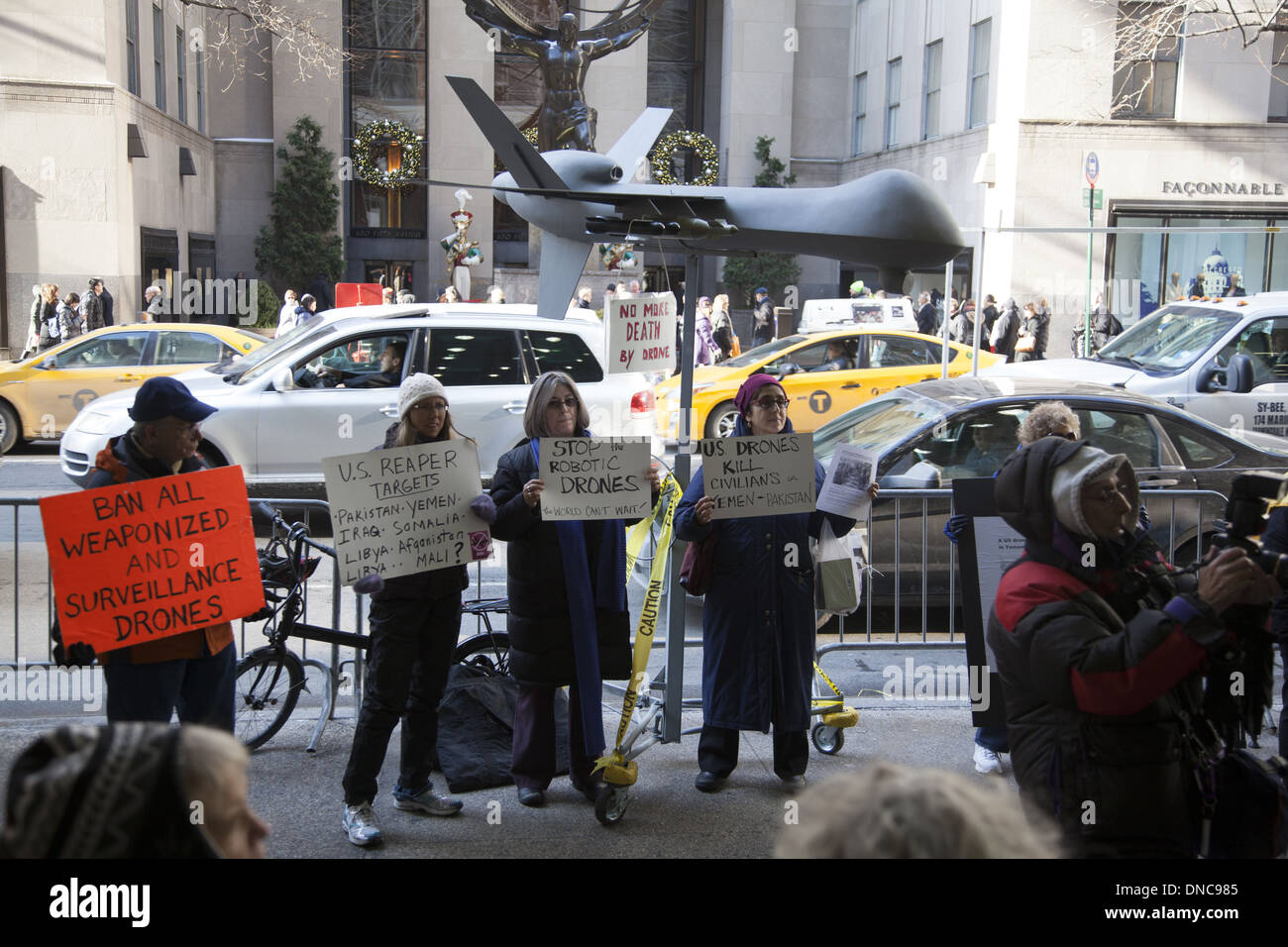 Activists speak out against the US military drone program in foreign countries killing many civilians. - Stock Image