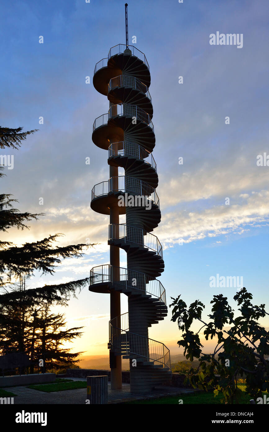 Gonjače Lookout Tower-144 spiraling stairs to incredible views onto the hilly countryside,Italian Dolomites and - Stock Image