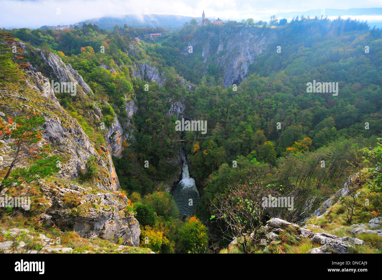 Looking down at Škocjan Caves-the most important underground phenomenon Subterranean network in the Karst region of  Slovenia - Stock Image