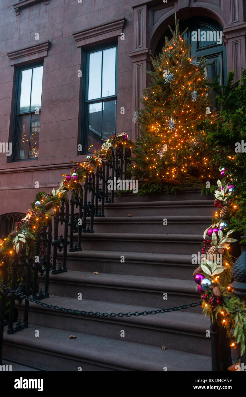 New York, NY - 21 December 2013 - Brownstone townhouse with ...