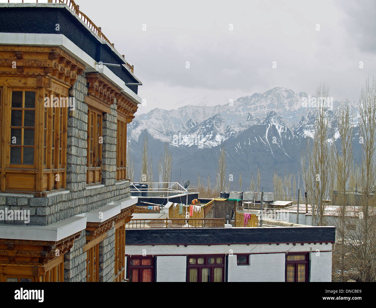 A view of the Himalayan Mountains from a hotel in Leh,Ladakh - Stock Image