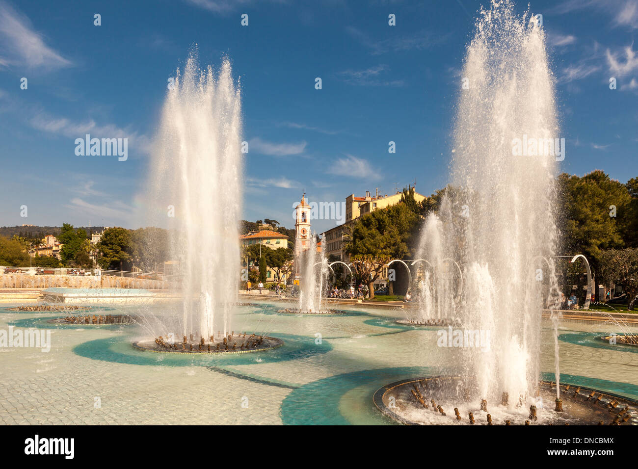 Place Massena fountains in the summer,Nice,Cote D'Azur,The French Riviera,France - Stock Image