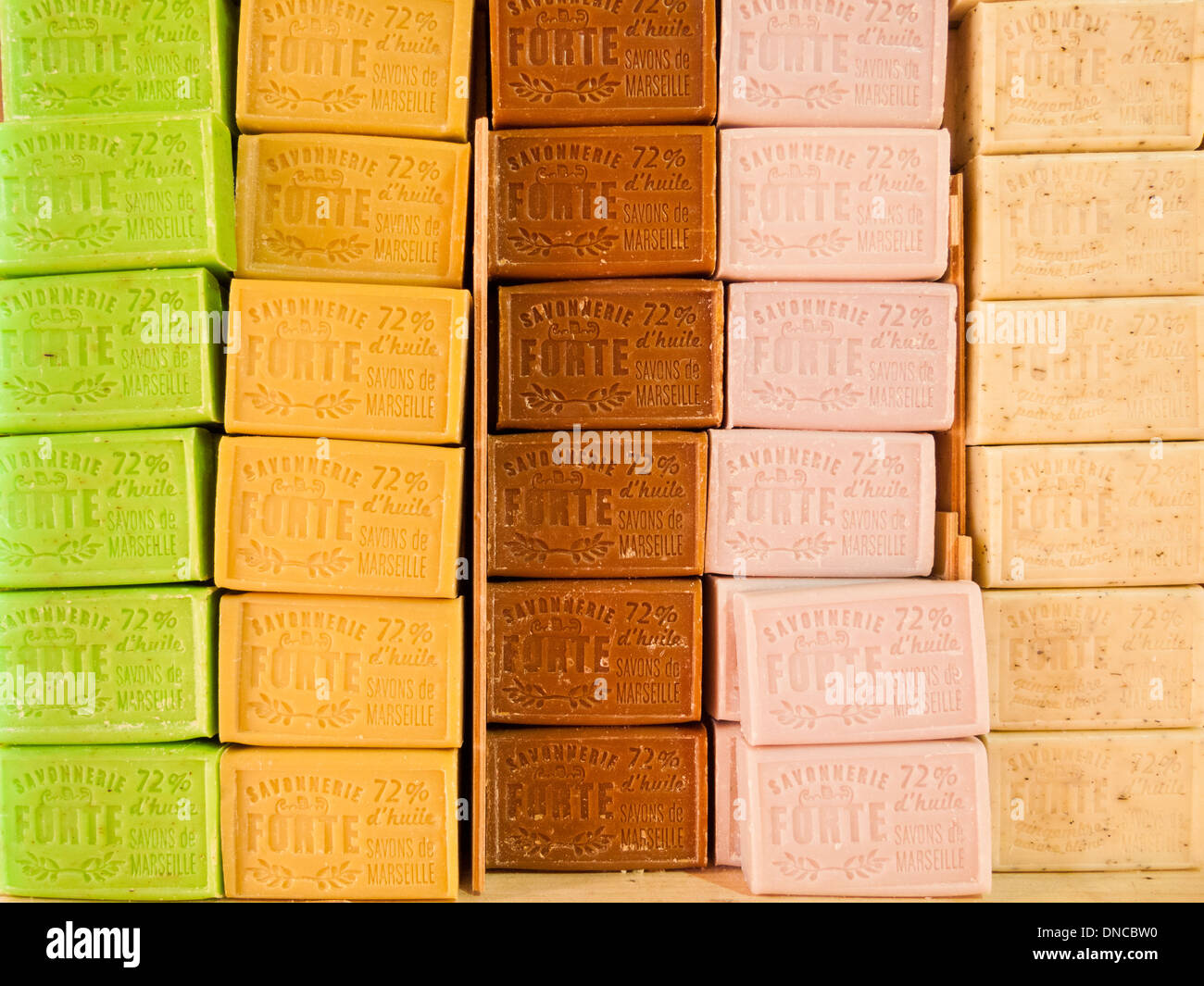 Traditional artisan soap bars,Marseilles,France - Stock Image