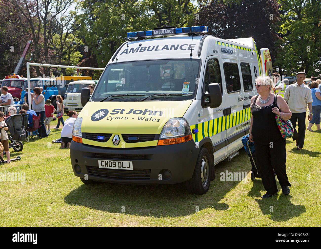 St John ambulance attending a public Steam Rally, Abergavenny, Wales, UK - Stock Image
