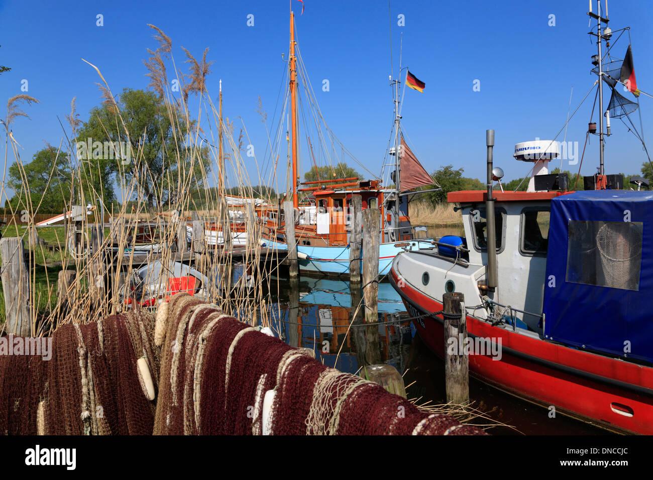Fishing village Gothmund at river Trave, Schleswig-Holstein, Germany, Europe - Stock Image