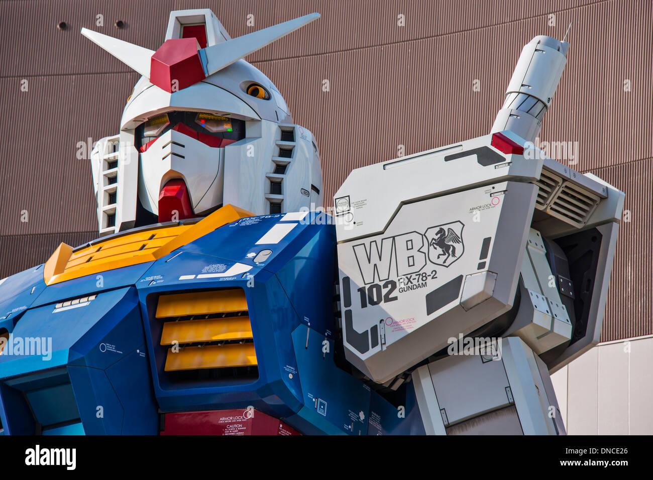 Gundam Replica in Tokyo, Japan. - Stock Image