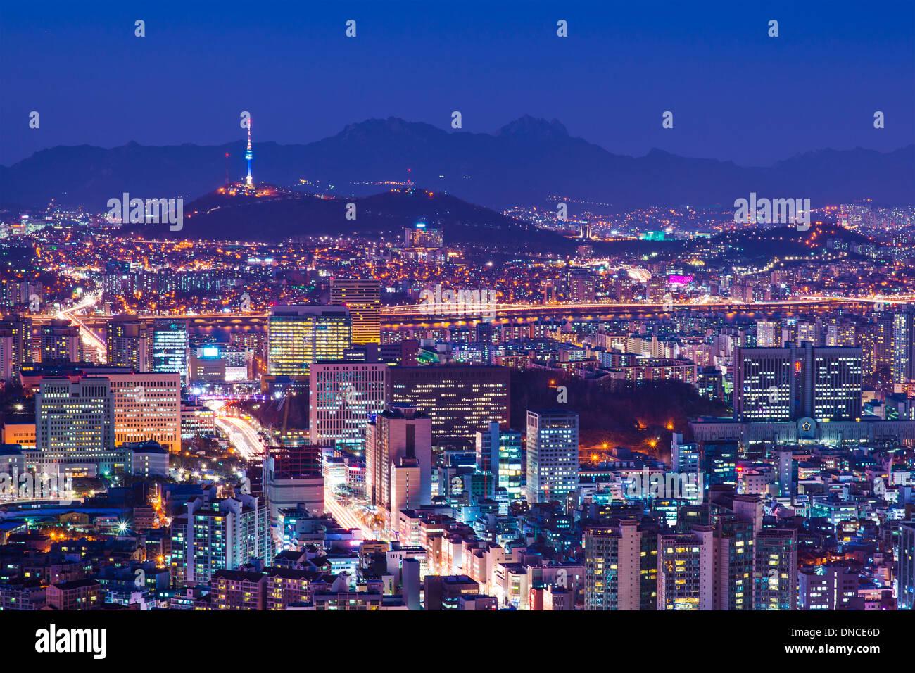 Seoul, South Korea city skyline nighttime skyline. - Stock Image