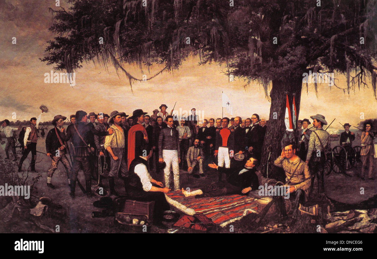 Mexican General Santa Anna surrenders to Texan Sam Houston at The Battle of San Jacinto -  21 April 1836 - Stock Image