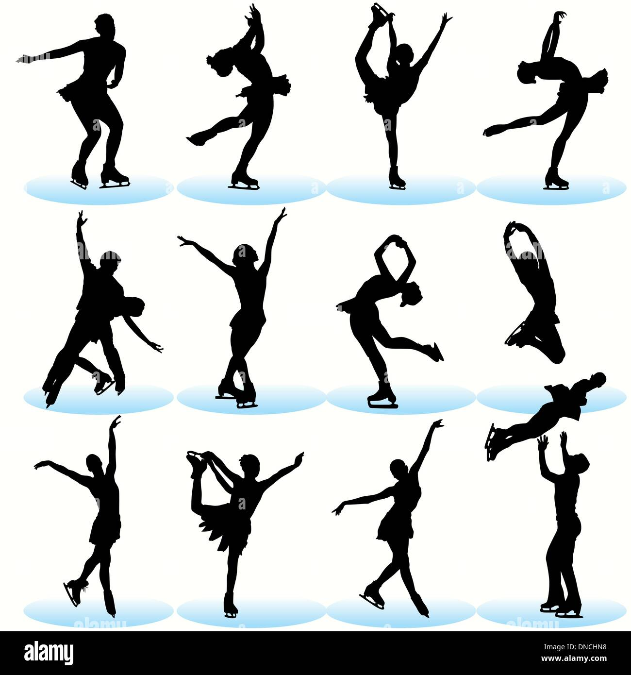 Figure skating silhouettes set - Stock Vector