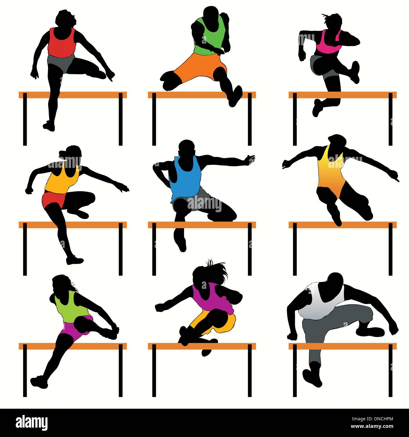 Hurdles silhouettes set - Stock Vector