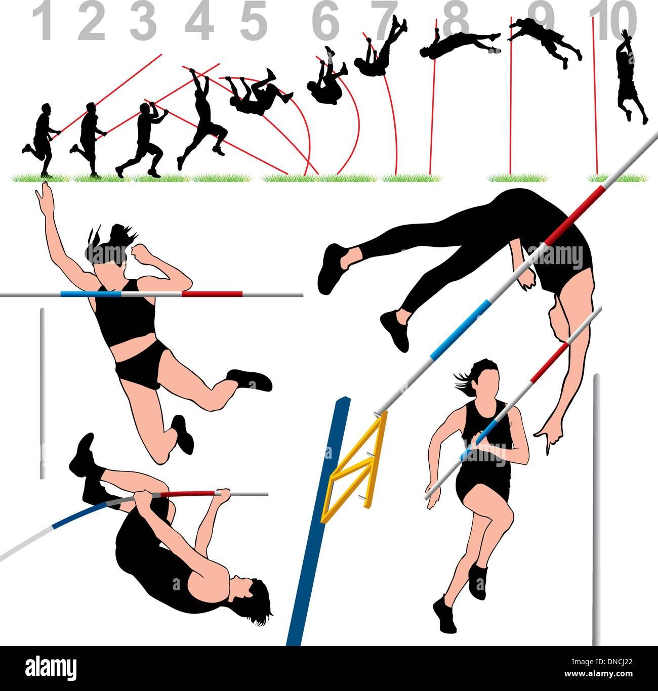 Pole Vault Athletes Set - Stock Vector