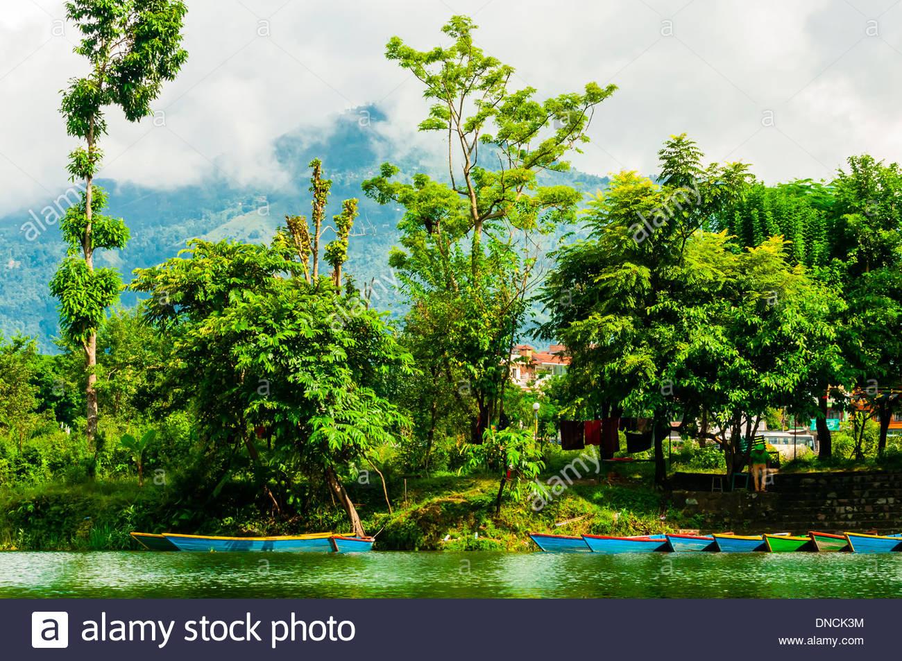 Phewa Lake, Pokhara, Nepal. - Stock Image