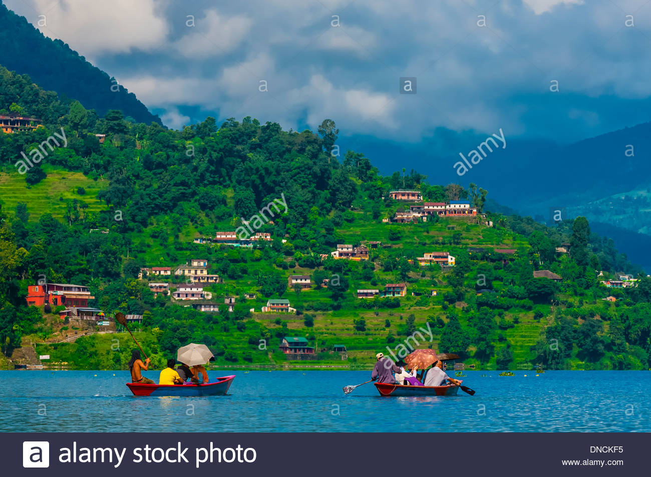 Phewa Lake, Pokhara, Nepal. Stock Photo