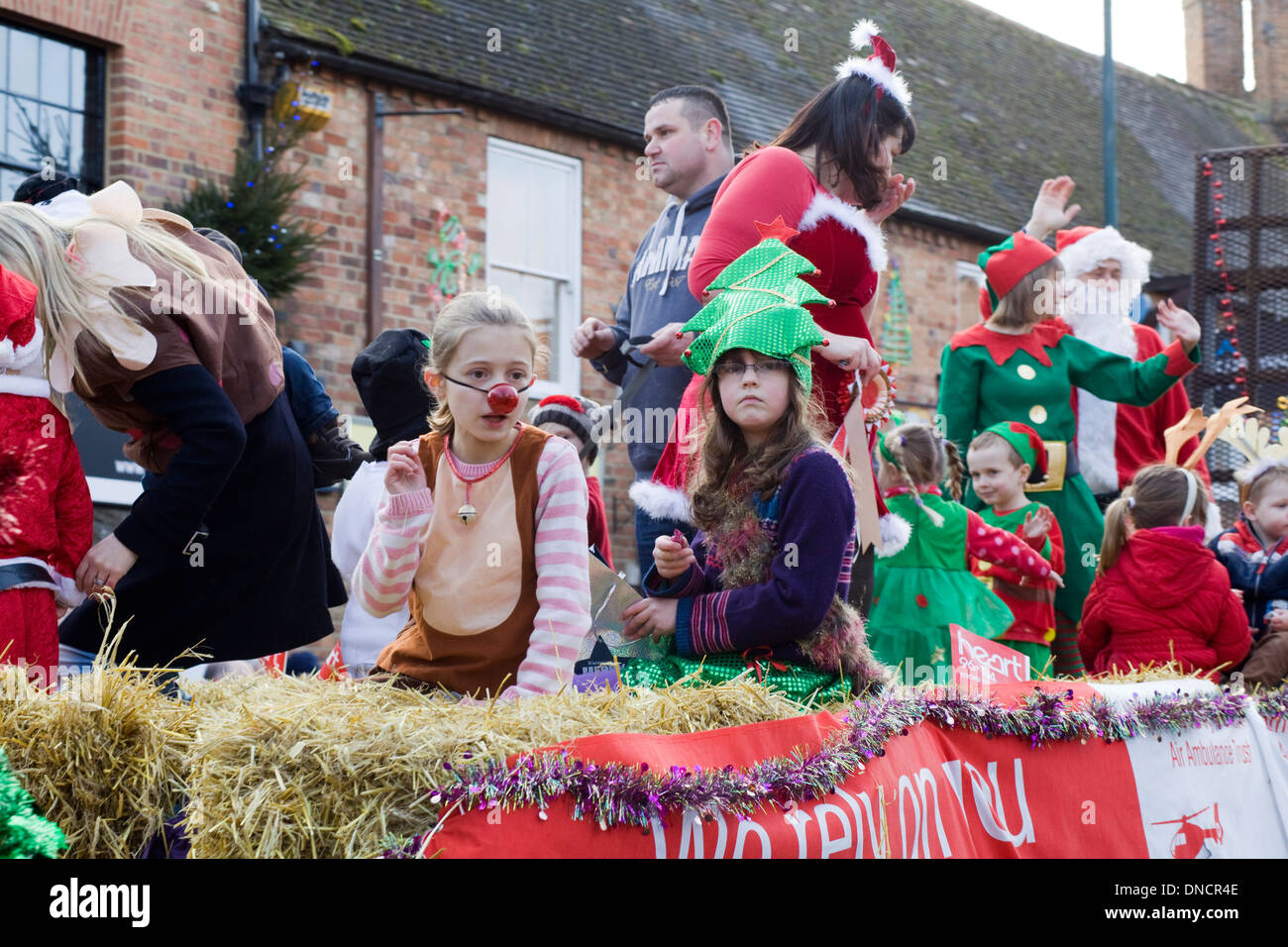 The Christmas Parade.Villagers Out For The Christmas Parade Buckingham England
