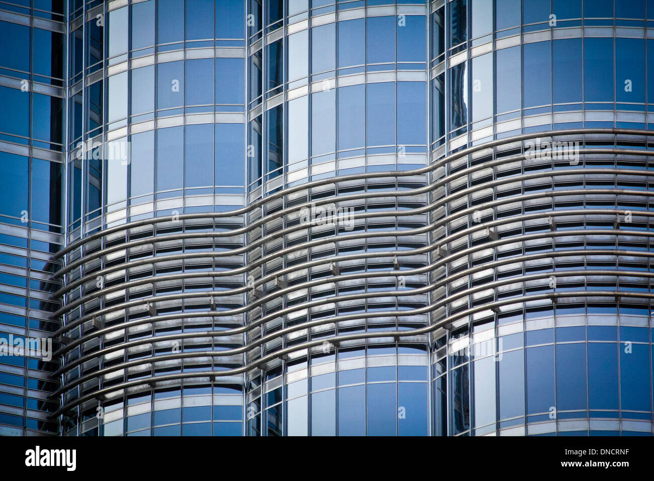 details of Burj Khalifa, highest Skyscraper in the World, 828 meter, 2625 feet, Burj Dubai, Dubai United Arab Emirates. - Stock Image