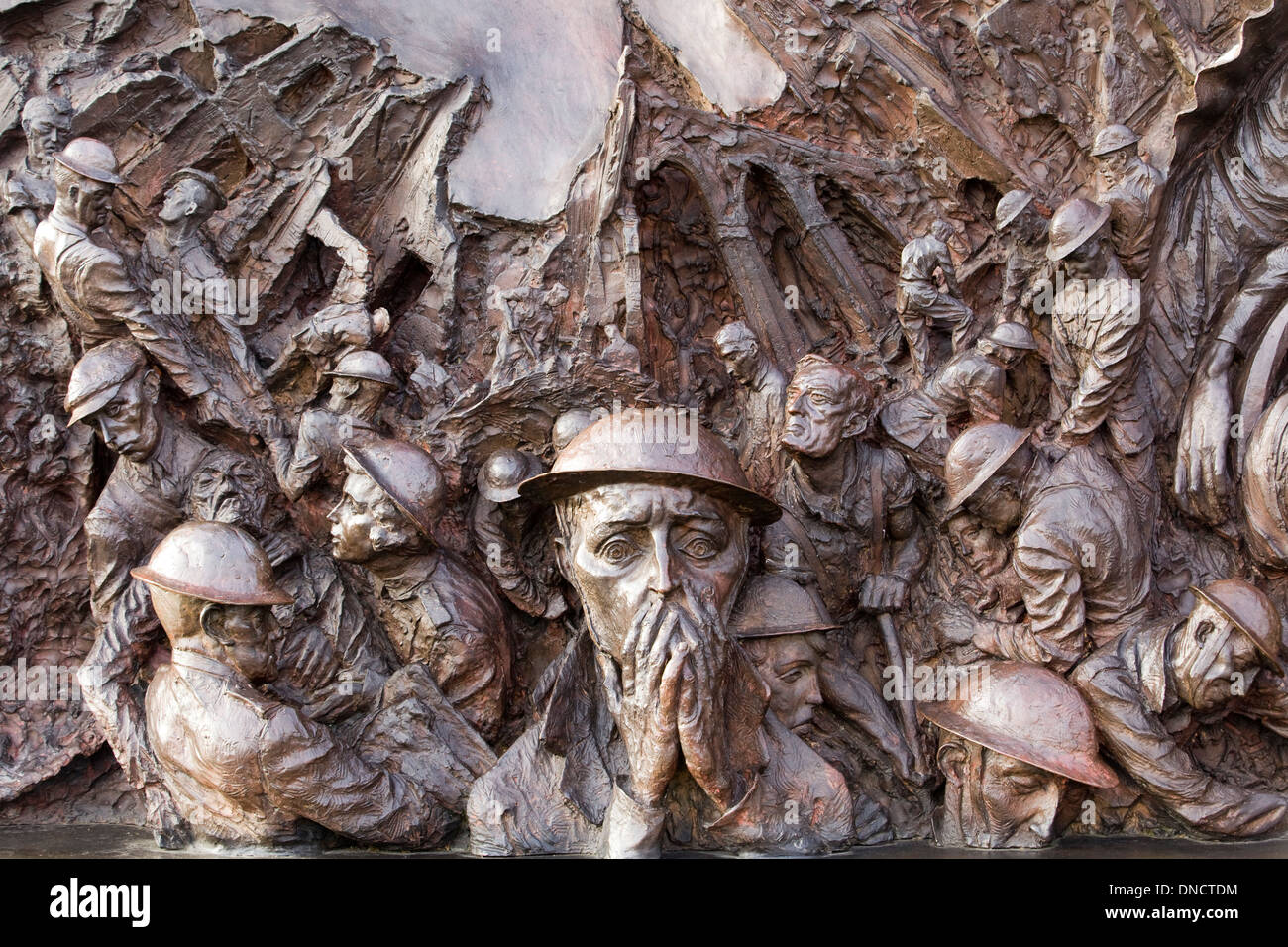 The Battle of Britain Monument in London sculpture on the Victoria Embankment overlooking the River Thames - Stock Image