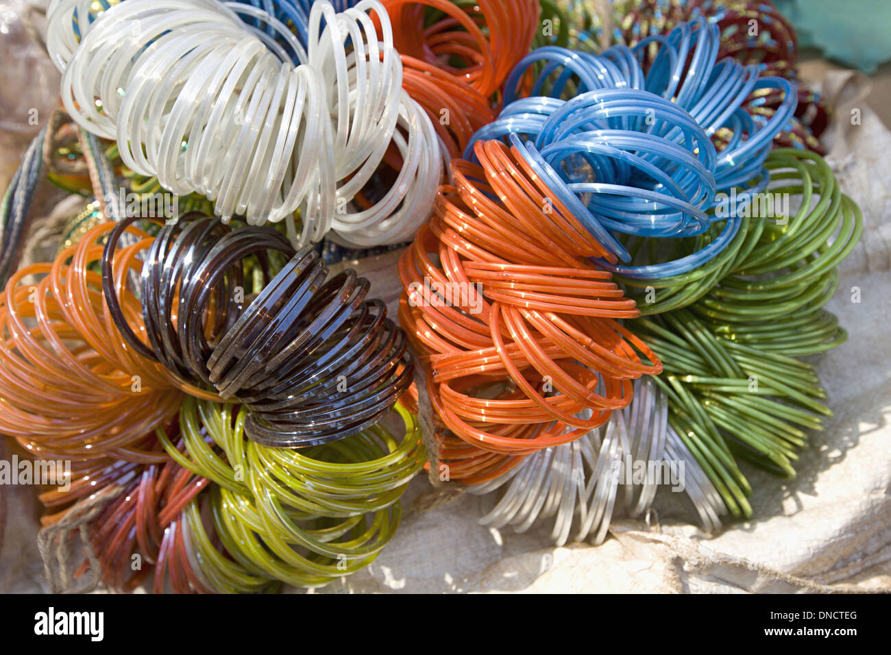 Colourful Glass bangles, Tribal market, Orissa - Stock Image