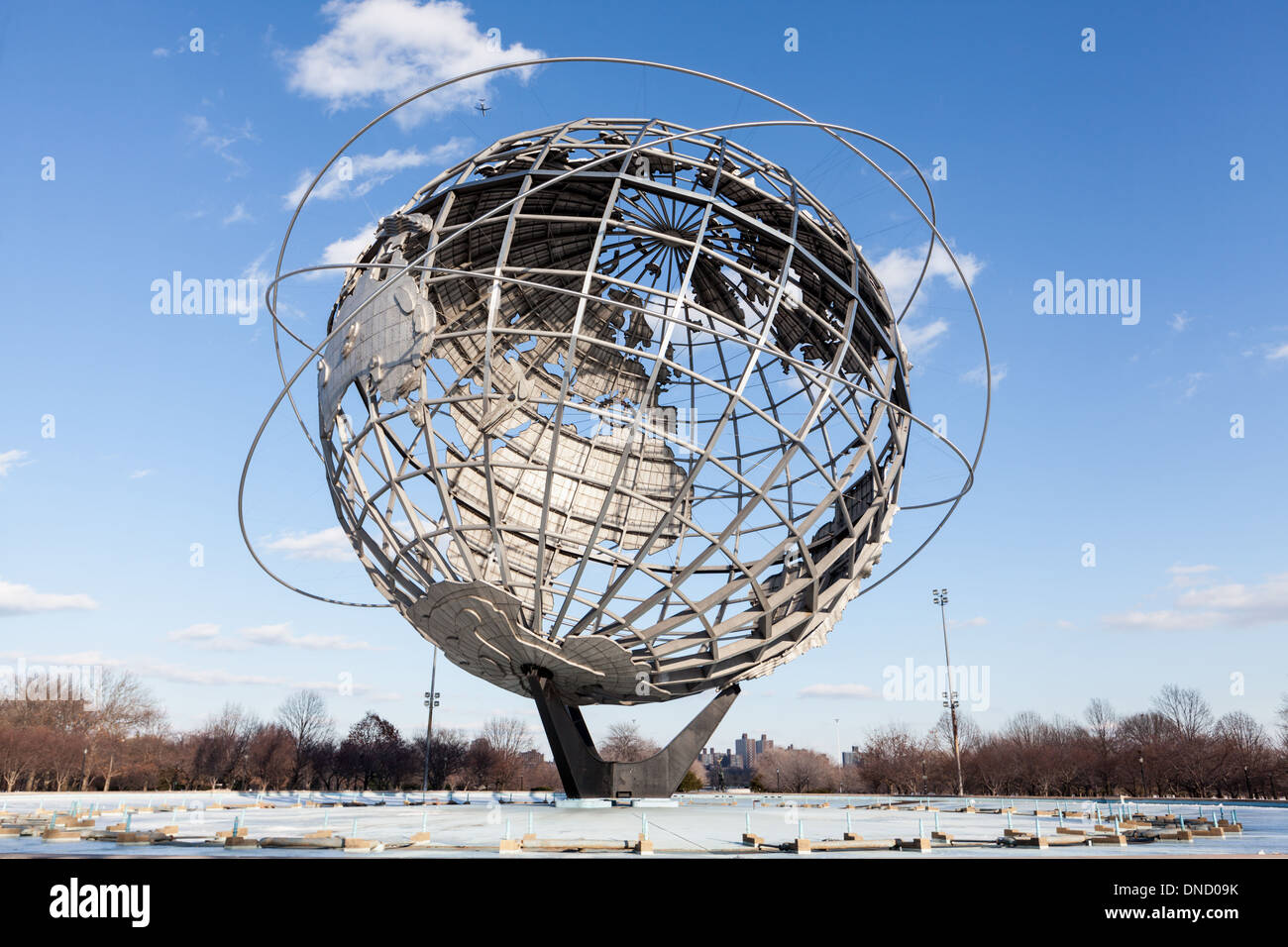 Unisphere, stainless steel, 12 stories high, built for 1964 World's Fair, Flushing Meadows, Queens, New York - Stock Image