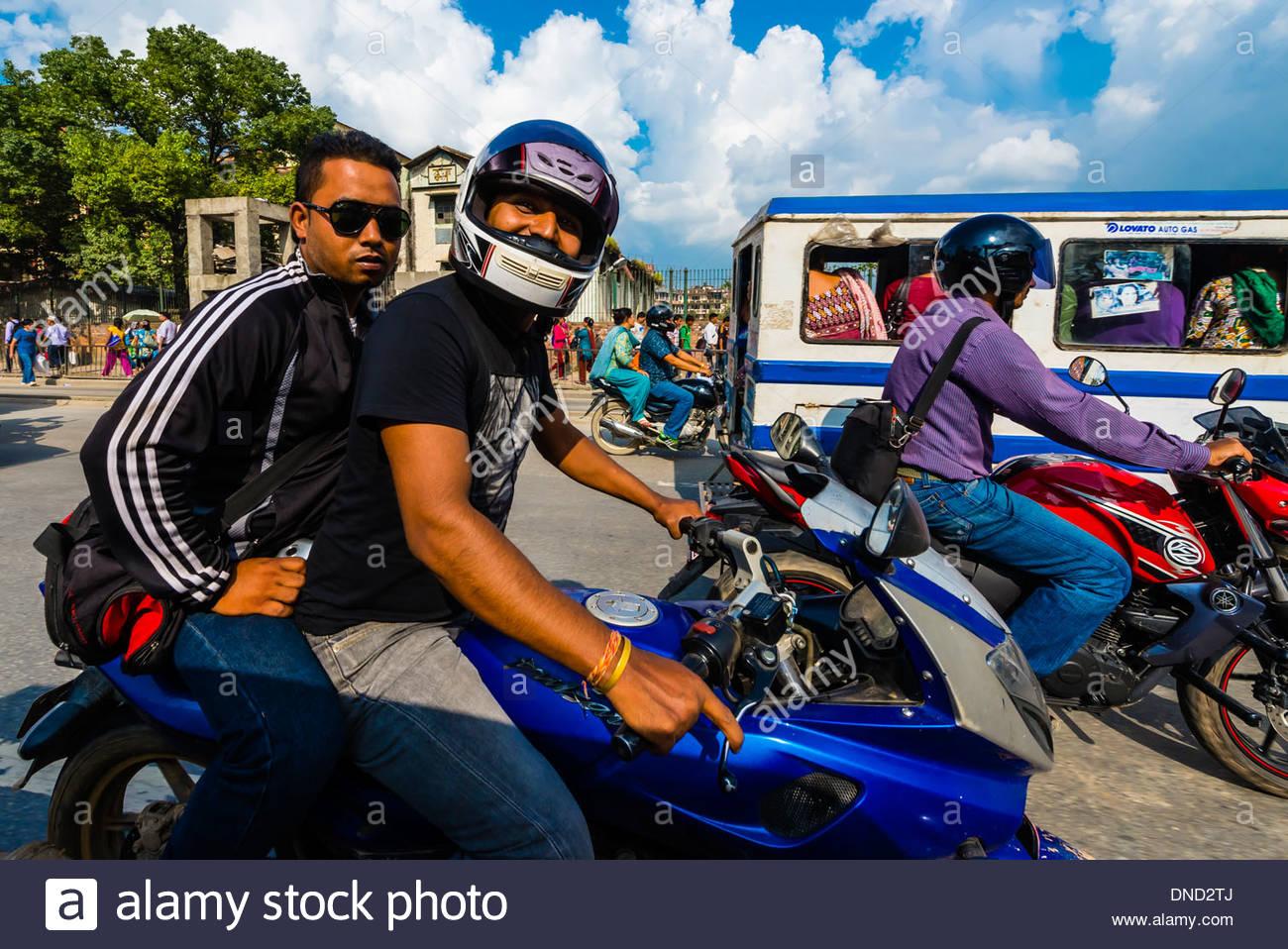 Two-wheeled traffic, Kathmandu, Nepal. - Stock Image