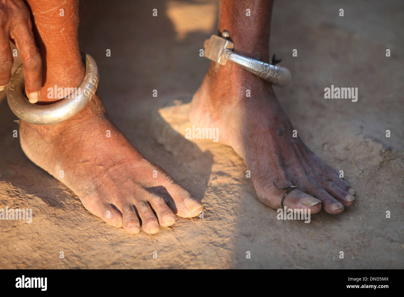 Bangles on feet. Bhil tribe, Madhya Pradesh, India - Stock Image