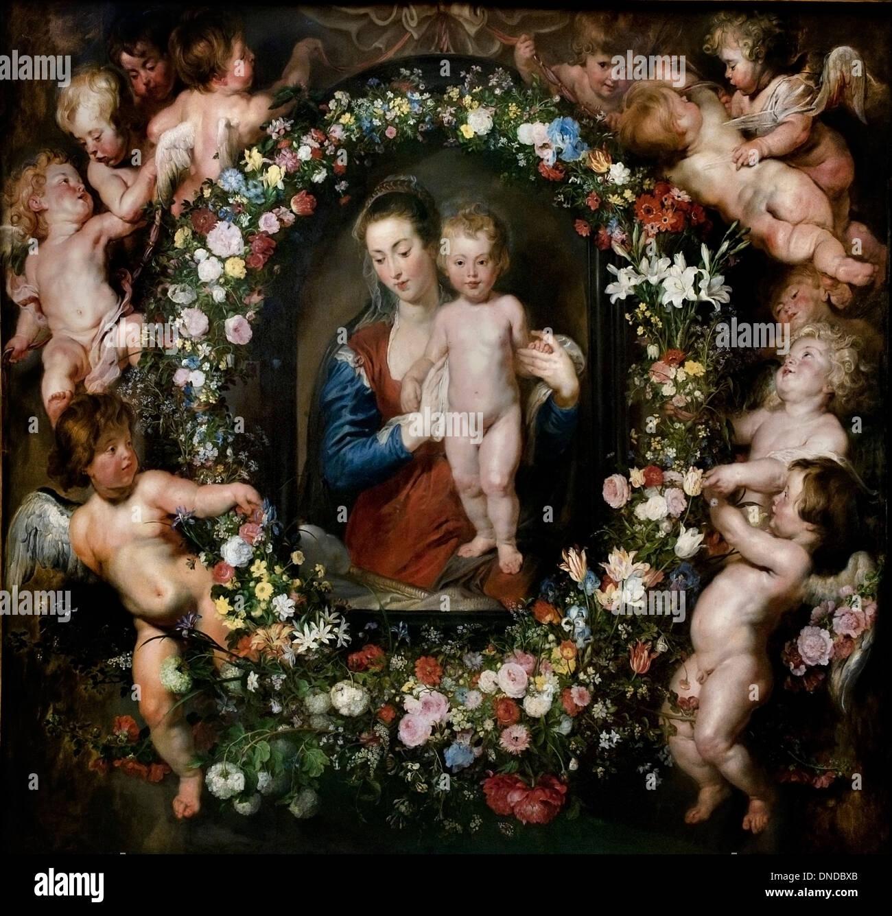Rubens painted the figures and Brueghel the garland 1616 Peter Paul Rubens and Jan Brueghel the Elder  (1568-1625) Flemish Belgi - Stock Image