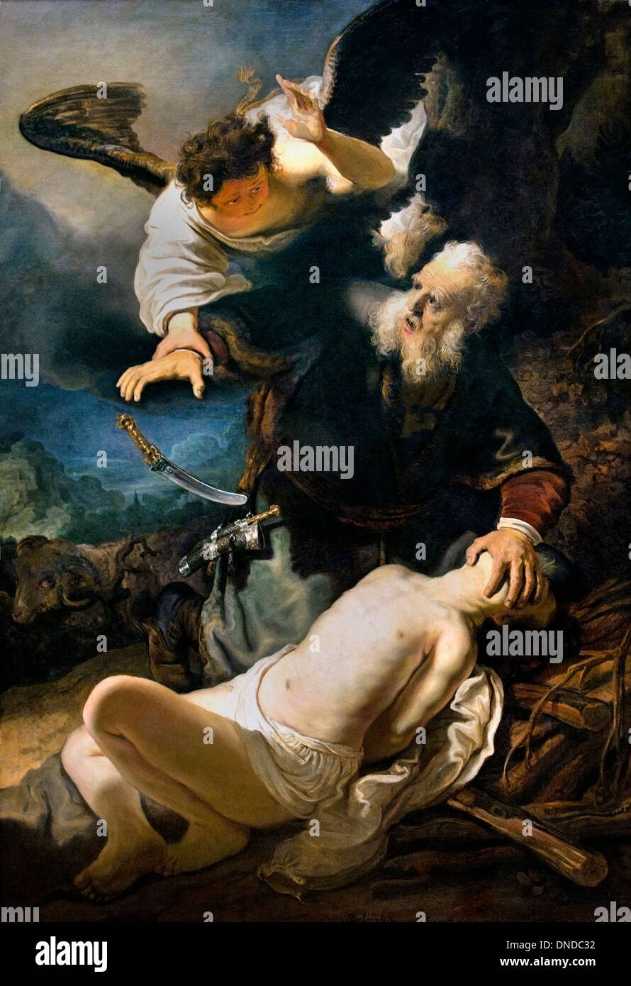 The Sacrifice of Isaac  by  Rembrandt Harmenszoon van Rijn Dutch Netherlands - Stock Image
