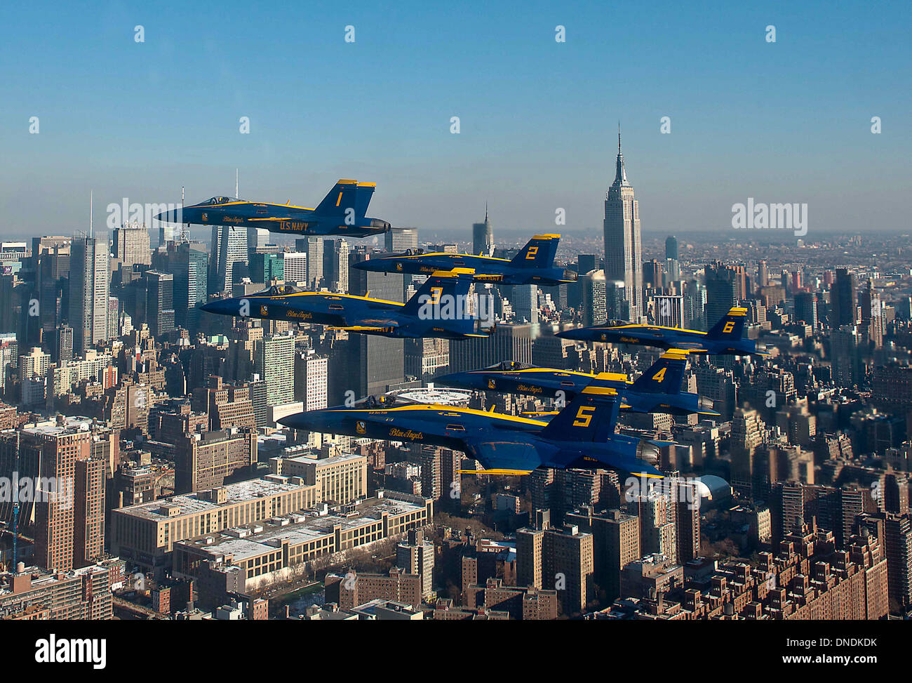 The US Navy Blue Angels flyover New York City in a Delta