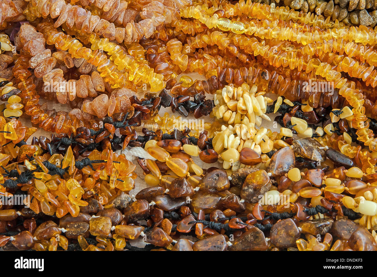 The amber necklaces on white background Stock Photo