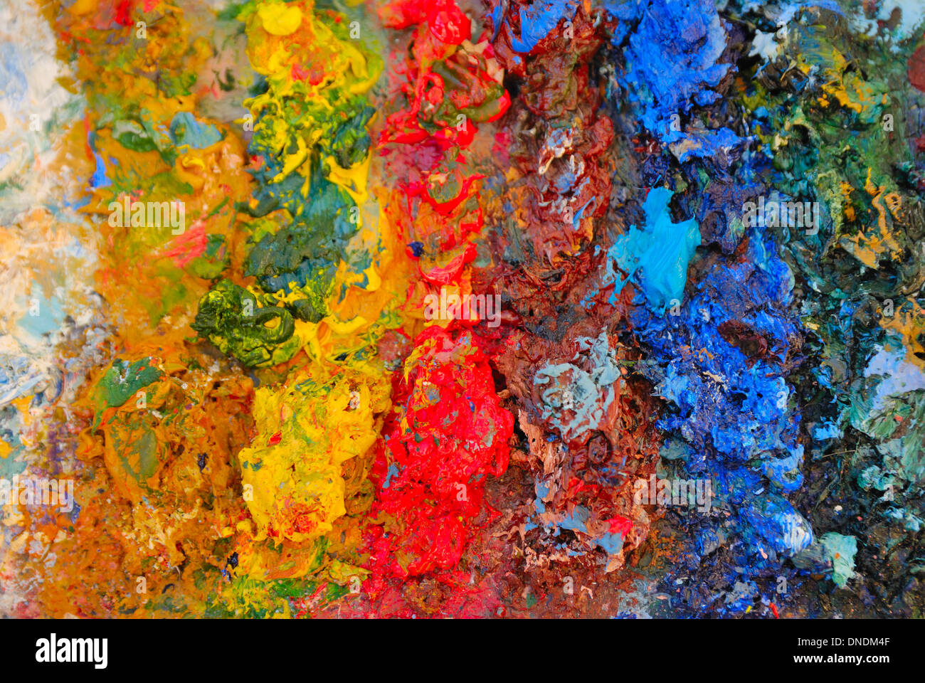 Artistic palette with oils paints. - Stock Image