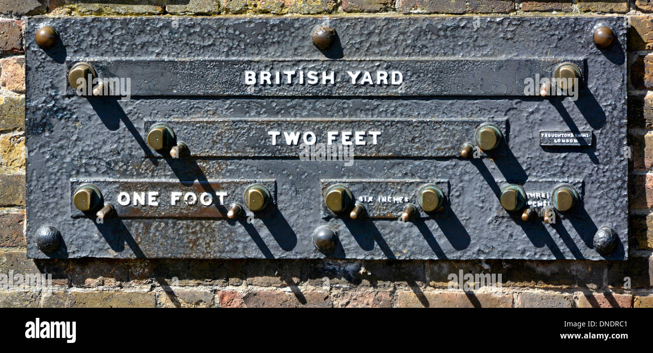 Public Standards of Length panel checking British standard units of measurement outside Royal Observatory in Royal Park Greenwich London England UK - Stock Image