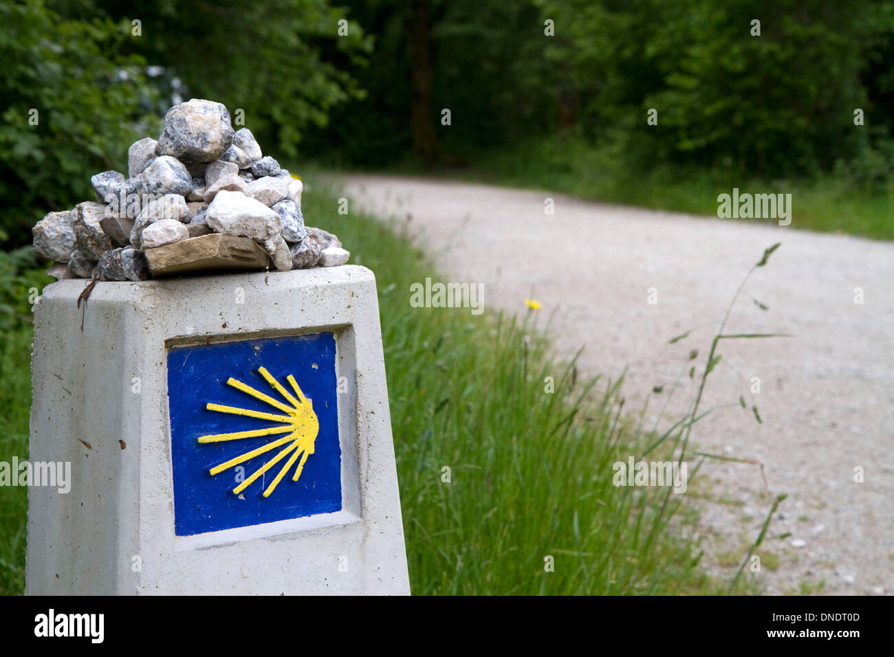 Marker along the Camino De Santiago, the Way of St. James pilgrimage route, Navarra, Spain. - Stock Image