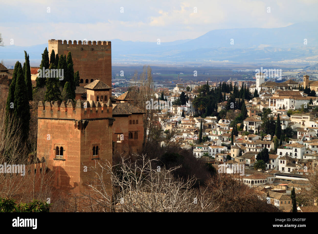 Alhambra towers and Albaicin view, Granada, Spain Stock
