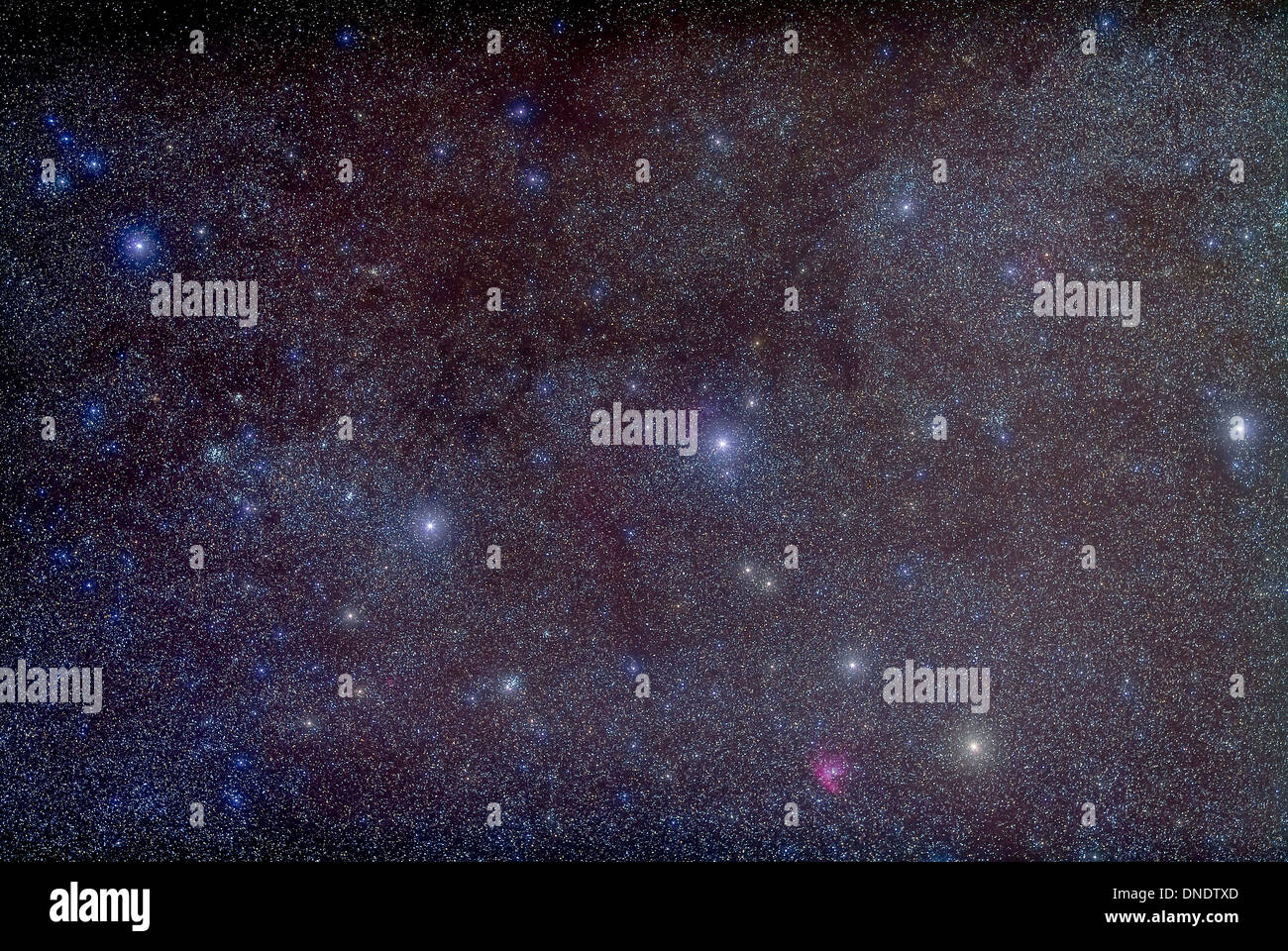 Widefield view of the constellation Cassiopeia showing many deep sky objects, including open clusters and nebulae. - Stock Image